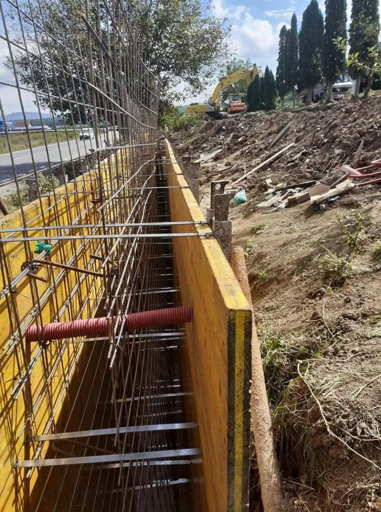 Realizare infrastructură zid de sprijin
